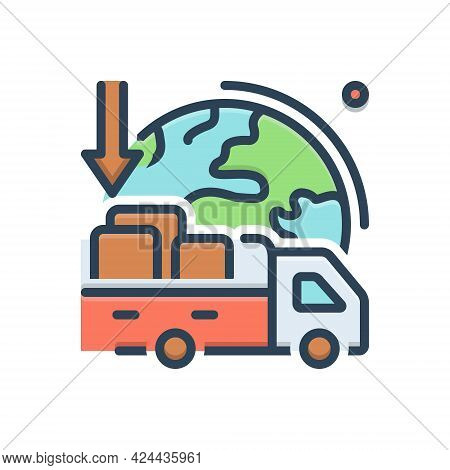 Color Illustration Icon For Importers Import-goods Shipping Transport Carriage
