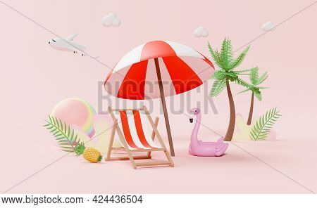 Summer Beach With Beach Chair, Ball ,swim Ring Flamingo ,palm Leaf ,coconut Tree ,concept 3d Illustr