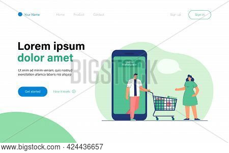 Cartoon People Using Online Marketplace For Shopping. Flat Vector Illustration. Woman Greeting Man C