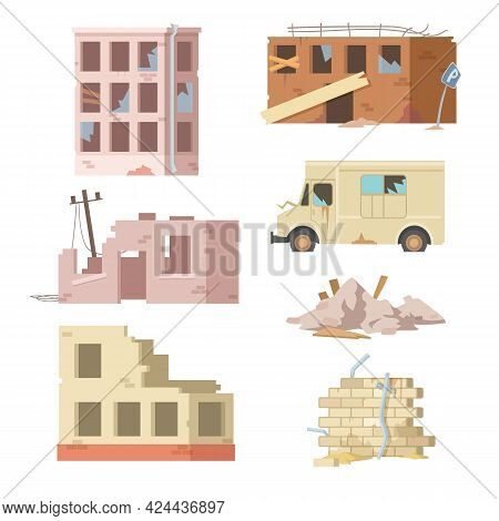 Colorful Set Of Ruined Buildings And Auto. Cartoon Vector Illustration. Old, Abandoned, Collapsed Bu