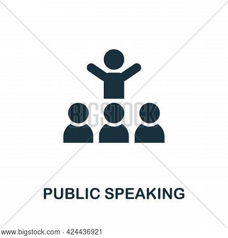 Public Speaking Icon. Monochrome Simple Element From Soft Skill Collection. Creative Public Speaking