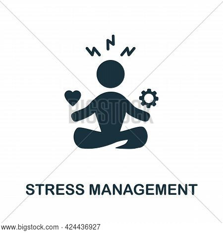 Stress Management Icon. Monochrome Simple Element From Soft Skill Collection. Creative Stress Manage