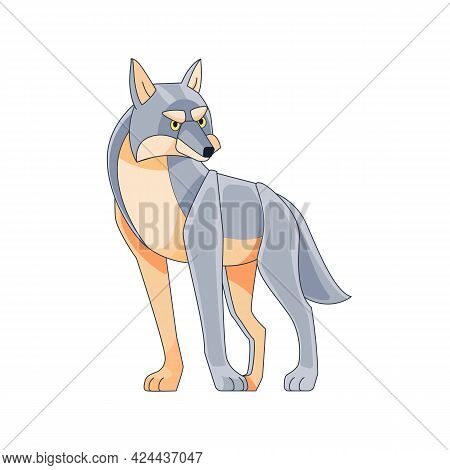 The Wolf Leader Is Watching. Cartoon Character Of A Dangerous Mammal Animal. A Wild Forest Creature