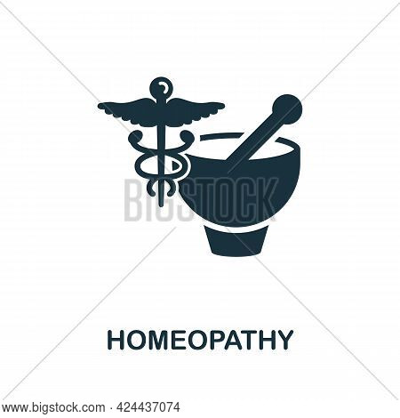 Homeopathy Icon. Monochrome Simple Element From Therapy Collection. Creative Homeopathy Icon For Web