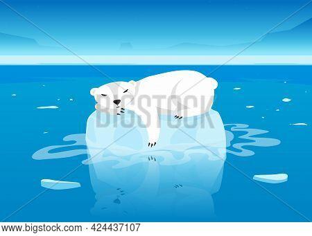 Cute Polar Bear Character Sleeping On Floating Glacier In Ocean. White Arctic Mammal Lying On Small