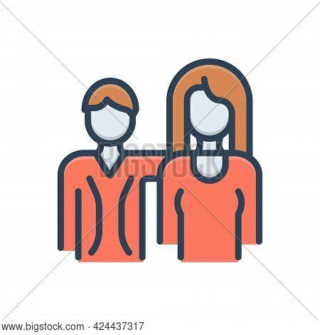 Color Illustration Icon For Couple Duet Spouse Pair Love Person Relationship