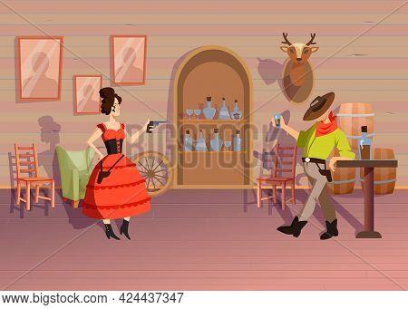 Woman And Man In Tavern. Cartoon Vector Illustration. Woman In Dress Aiming Gun At Man In Hat Drinki