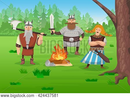 Vikings In Nature Cartoon Vector Illustration. Armed Men And Woman In Viking Robes Standing By Fire,