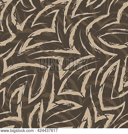 Vector Seamless Pattern Of Beige Zigzags And Corners. Vector Seamless Geometric Pattern Of Abstract