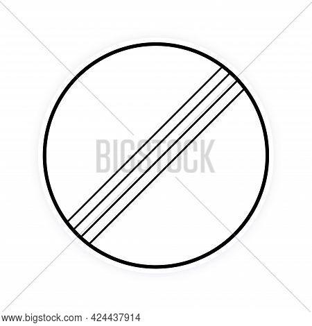 International Round Traffic Derestriction End Of Speed Limit Sign Flat Style Design Vector Illustrat