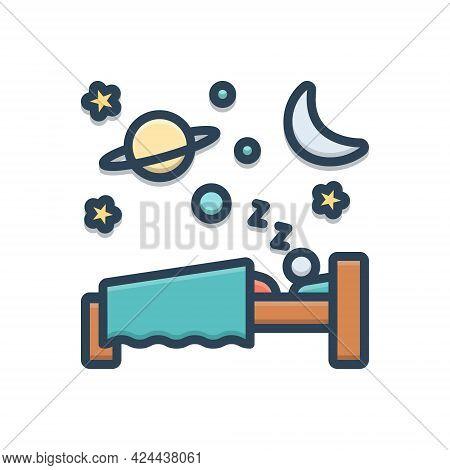 Color Illustration Icon For Sleep Slumber Somnolence Shut-eye Dormancy Blink