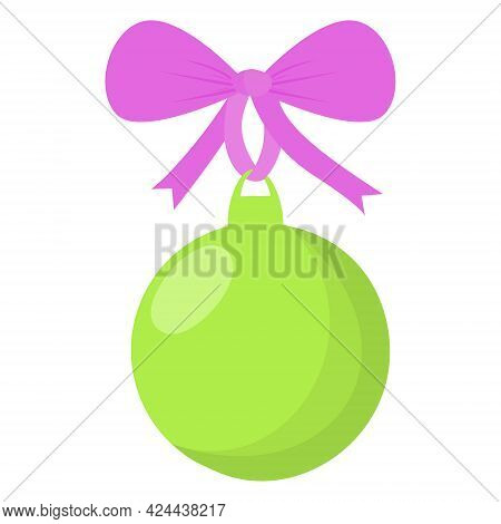 Green Christmas Decorate The Christmas Ball And Hang It On The Christmas Tree. A Green Ball With A P