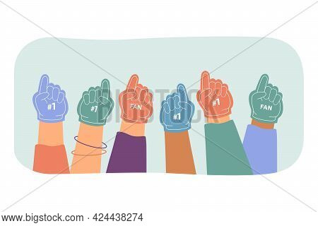 Multiple Hands In Colorful Fan Gloves With Finger Up. Flat Vector Illustration. Fan Group Supporting