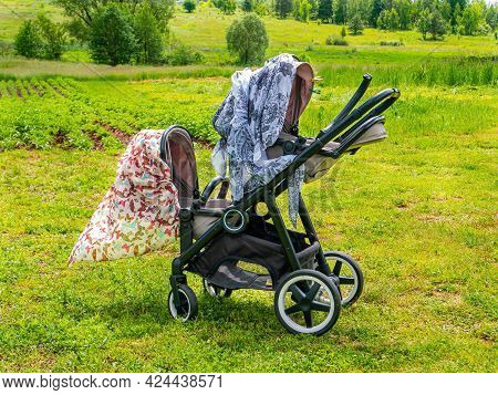 Twin Stroller For Twins On A Green Meadow. Baby Carriage. The Children Are Twins. Walk With Children