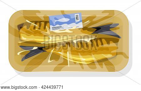 Cartoon Of Atlantic Mackerel Fish, Smoked Cooked Fish, Ready To Eat. Vector Oily Dinner Packed In Pl