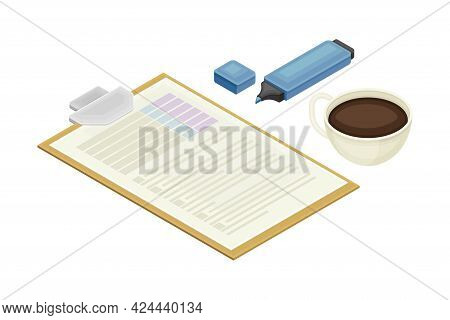 Financial Statement And Business Report Preparation With Clipboard And Highlighter As Accounting And