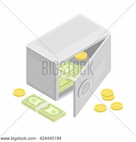 Safe Deposit With Dollar Banknote And Coins As Financial Accounting And Summary Isometric Vector Com