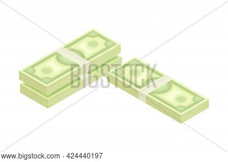 Bundle Of Dollar Banknote As Financial Accounting And Summary Isometric Vector Composition