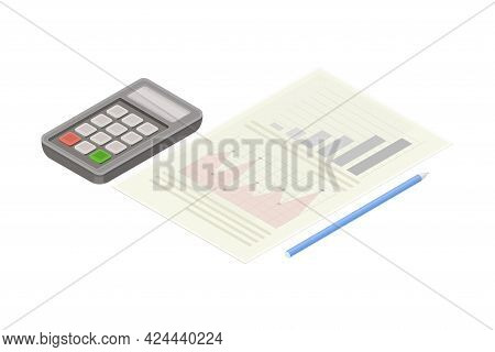 Electronic Calculator And Document Paper As Financial Accounting And Summary Isometric Vector Compos