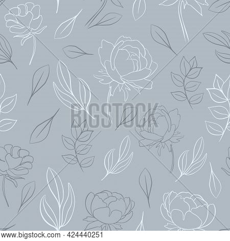 Seamless Pattern With Flowers And Leaves, Vector. Repeating Pattern With Peonies And Sheets. Outline
