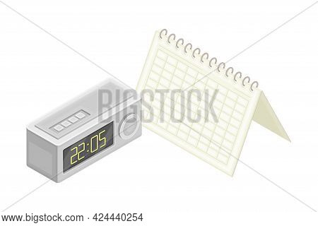 Calendar And Clock As Organization Of Financial Income Accounting And Summary Isometric Vector Compo