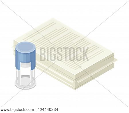 Financial Statement And Business Report Preparation With Document And Date Stamp As Accounting And S