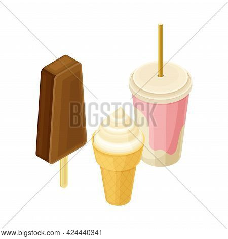 Ice Cream And Milkshake In Glass With Straw From Food Court As Self-serve Dinner Isometric Vector Il