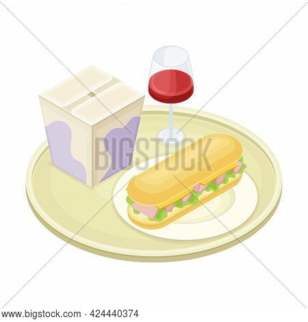 Tray With Sandwich On Plate And Beverage In Glass From Food Court As Self-serve Dinner Isometric Vec