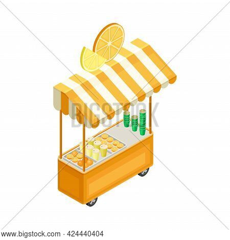 Counter With Awning As Outdoor Food Court Or Food Vendor Selling Refreshing Orange Juice Isometric V