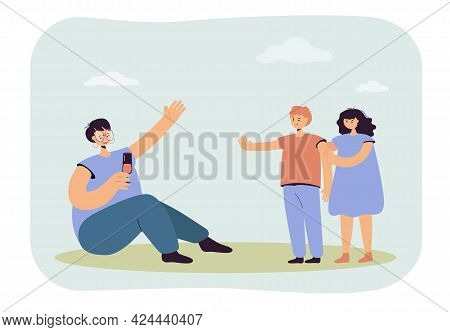 Son Stopping Mother From Drinking. Drunk Woman Holding Glass, Daughter Hiding Behind Brave Boy Flat