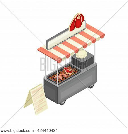 Outdoor Food Court Counter Or Food Vendor Selling Grilled Beef Meat And Sausage Isometric Vector Ill