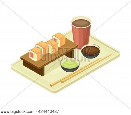 Tray With Sushi And Coffee From Food Court As Self-serve Dinner Isometric Vector Illustration