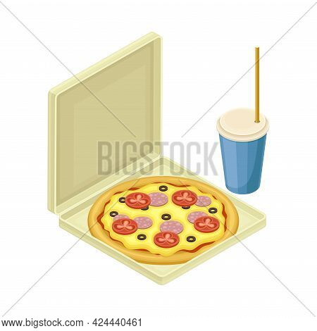 Pizza In Carton And Soda With Straw From Food Court As Self-serve Dinner Isometric Vector Illustrati
