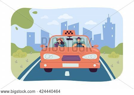 Taxi Driver Taking Passenger To Destination. Flat Vector Illustration. Man And Woman Riding Colorful