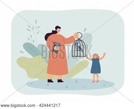 Teacher Showing Parrot In Cage To Pupil. Woman In Glasses With Caged Exotic Bird, Happy Girl Flat Ve