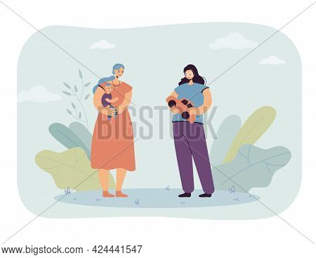 Sister Or Friend Giving Toy Car To Child As Present. Mother Holding Son, Young Girl With Gift Flat V