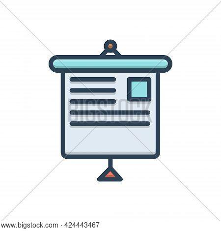 Color Illustration Icon For Presentation Display Demonstration Manifestation Show
