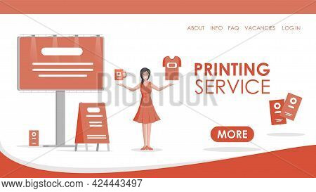 Printing Service Vector Flat Landing Page Template With Text Space. Young Pretty Woman In Red Dress