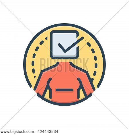 Color Illustration Icon For True Real Correct Accurate Precise Exact Actual