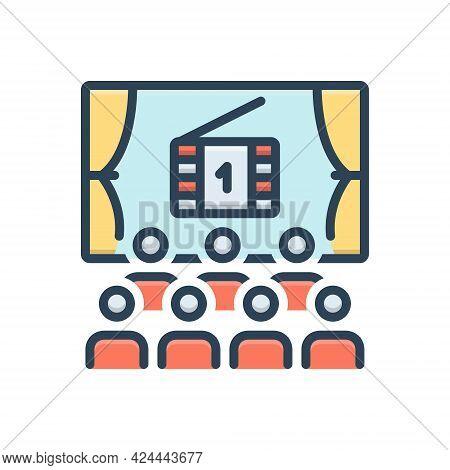 Color Illustration Icon For Cinema Cinematograph Theater Auditorium Audience Entertainment