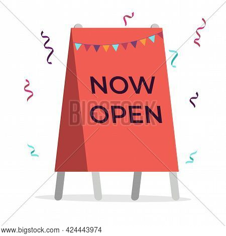 Red Street Sign With Black Text We Are Open And Colorful Confetti. Open Business, Restaurant, Cafe,