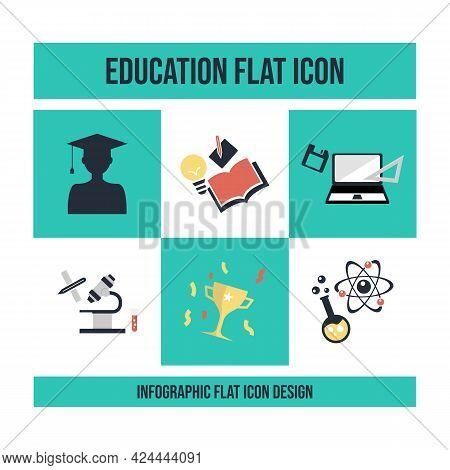 School Education Flat Infographics Icons Vector Image. Educational Infographic Flat Design, Educatio
