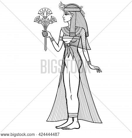 Animation Linear Portrait: Beautiful Egyptian Woman Stands With A Bouquet Of Flowers In Hand. Full G