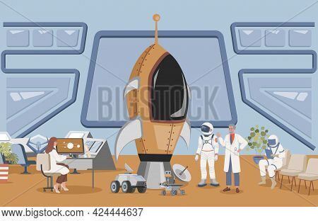 Launch Rocket Center With Cosmonaut In Space Suit Vector Flat Illustration. Engineer And Scientist P