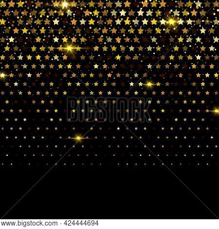 Fireworks Star Icon Gold Halftone Pattern.gold Glitters. Vector Fireworks Star Symbols Are Organized