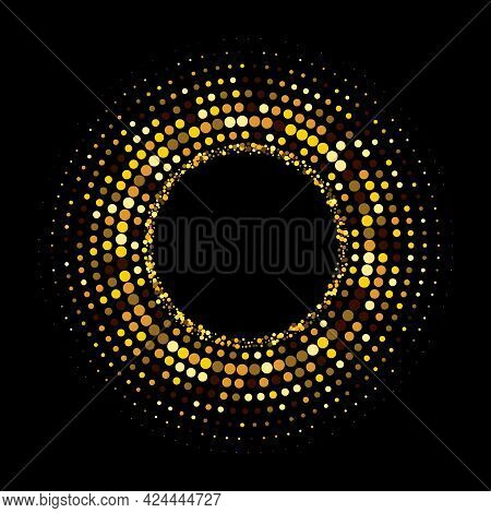 Gold Halftone Dots In Circle Form. Round Logo. Vector Dotted Frame. Spiral, Twirl Design Concentric