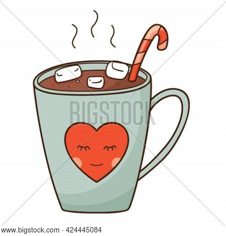 A Cup Of Hot Cocoa With Marshmallows And A Candy Cane. A Hot, Invigorating, Morning Drink. Design El