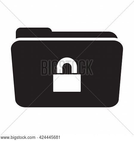 Secure Confidential Files Folder Vector Icon Paper Documents Access And Private Lock Concept Secret