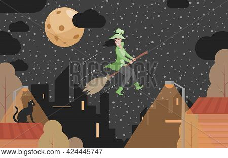 Happy Smiling Witch In Green Clothes Flying On Broomstick Vector Flat Illustration. Young Woman Usin