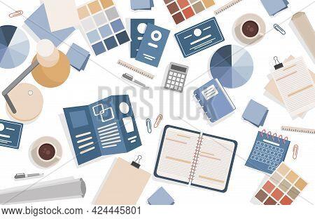 Graphic Designer Working Table Vector Flat Top View Illustration. Designer Or Typography Worker Work